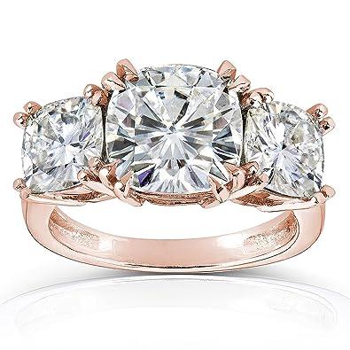 1 Carat 14k White Gold Cushion Cut 3 Three Stone Diamond Engagement