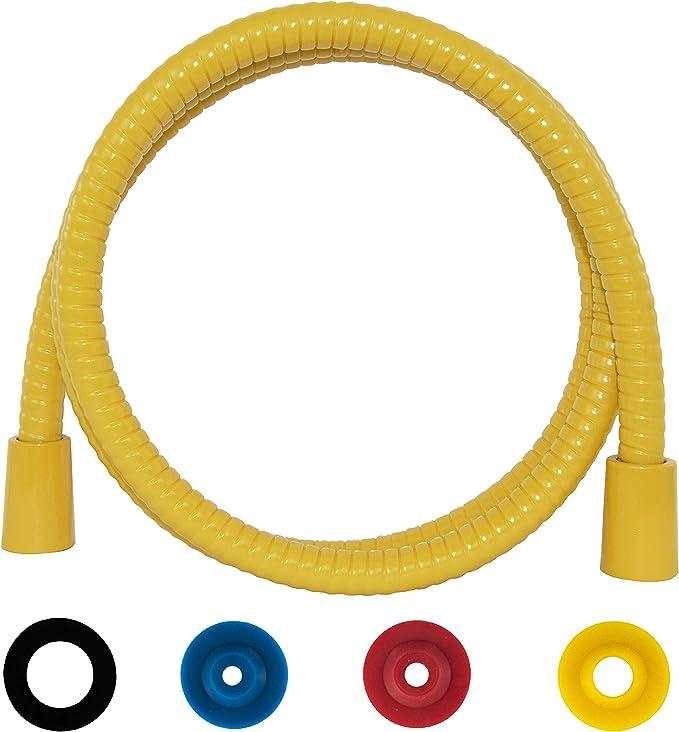 SANTRAS/® Metall Duschschlauch DELUXE Chrom//Gold 1,25 m mit Durchflussbegrenzer Besonders flexibler Brauseschlauch aus Edelstahl MADE IN GERMANY
