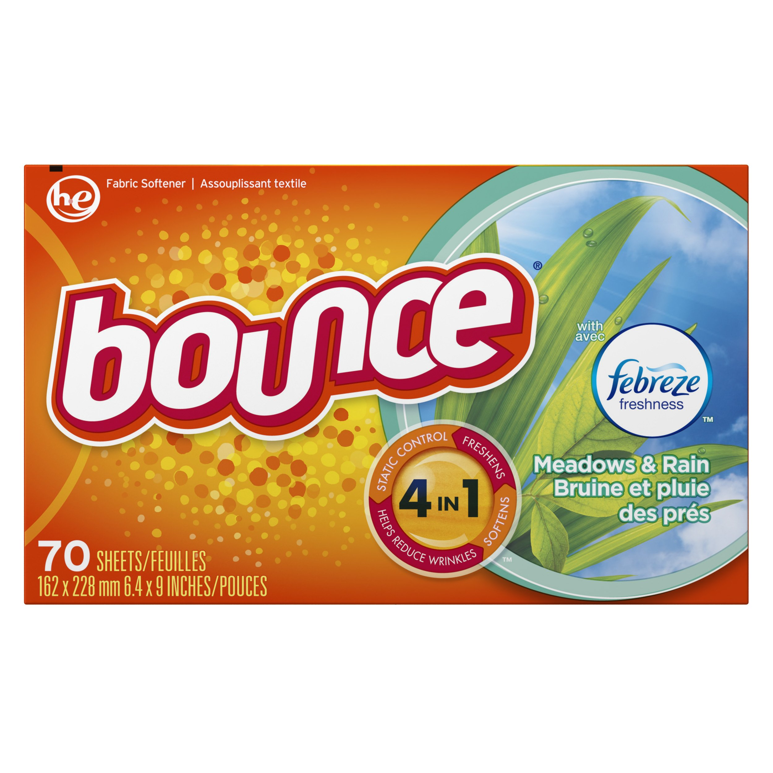 Bounce with Febreze Meadows & Rain Dryer Sheets, 70 Count, (Pack of 3)