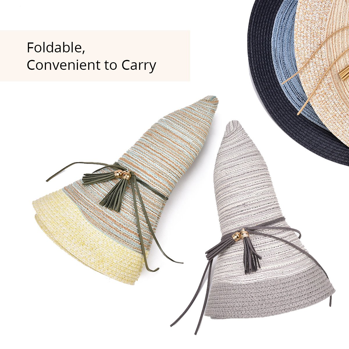 SOMALER Women Floppy Sun Hat Summer Wide Brim Beach Cap Packable Cotton Straw Hat for Travel by SOMALER (Image #6)