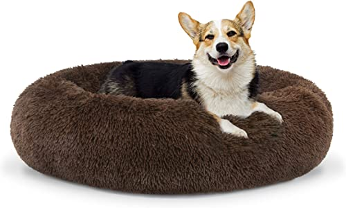 The Dog s Bed Sound Sleep Donut Dog Bed, Med Chocolate Brown Plush Removable Cover Premium Calming Nest Bed
