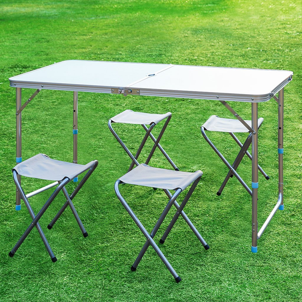 amazoncom finether portable folding table sturdy and lightweight steel frame legs with 4 folding chairs 4 adjustable heights feet for - Folding Table And Chairs
