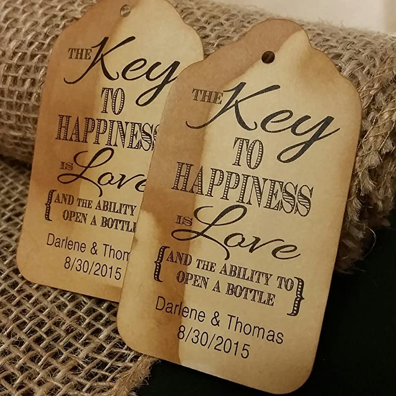 The Key to Happiness is Love Stamp Vintage For Happiness is Love Tags T694 Wedding Favor Bottle Key Opener Ability to Open a Bottle