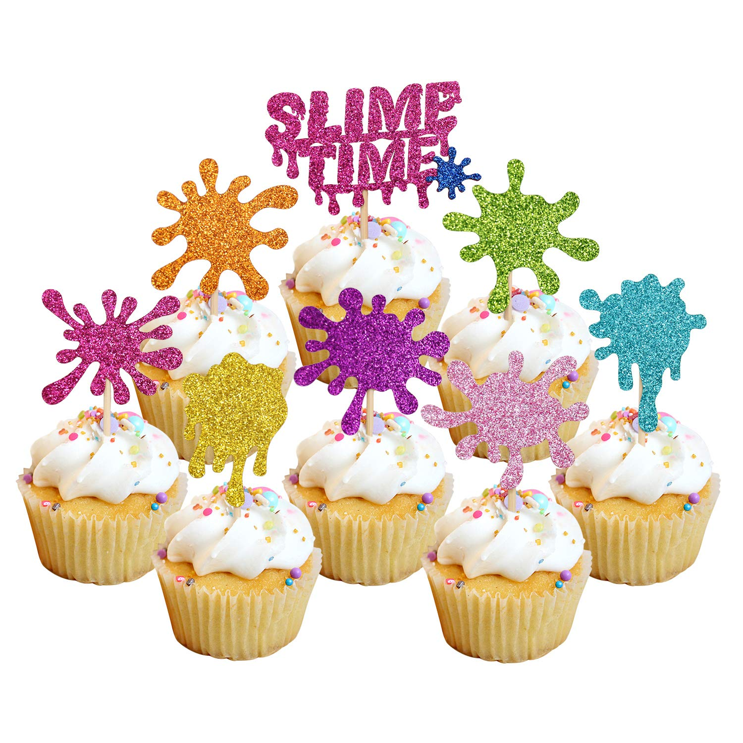 24pcs Glitter Slime Cupcake Toppers for Slime Birthday Party Baby Shower Painting Party Art Themed Party Decoration Supplies by Faisichocalato