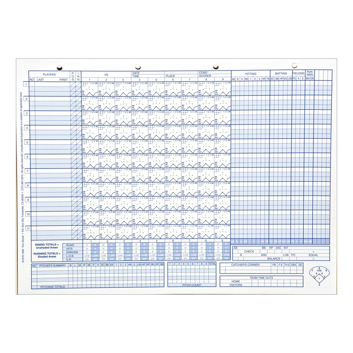 Amazon.com : Glovers Scorebooks Baseball/Softball 50 Scoring Sheets (No  Stats) : Coach And Referee Scorebooks : Sports U0026 Outdoors