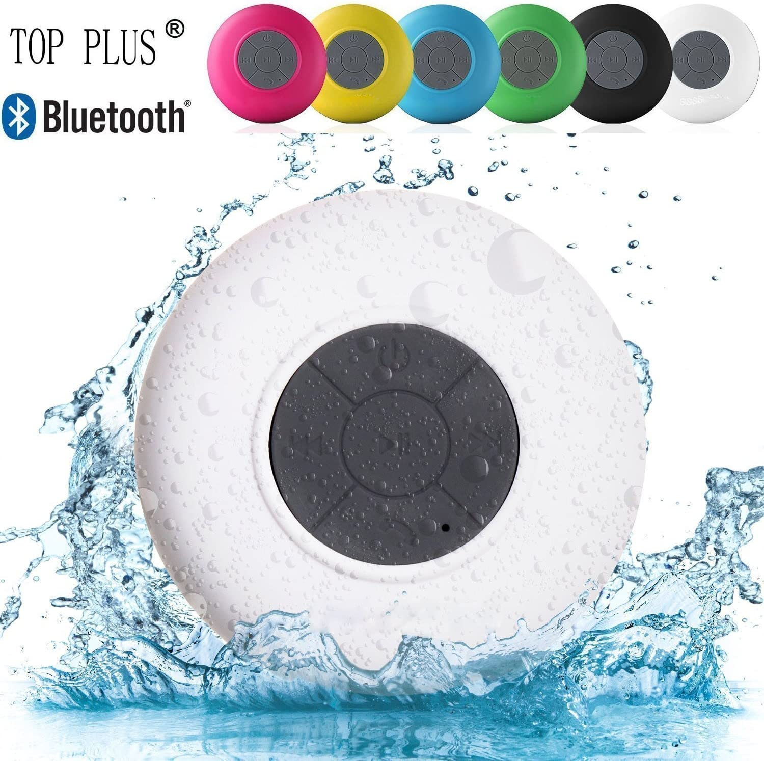 Beach Pool Outdoor Brotherood Water Resistant Waterproof Bluetooth Smart Speaker Handsfree Portable with Built-in Microphone for Showers White