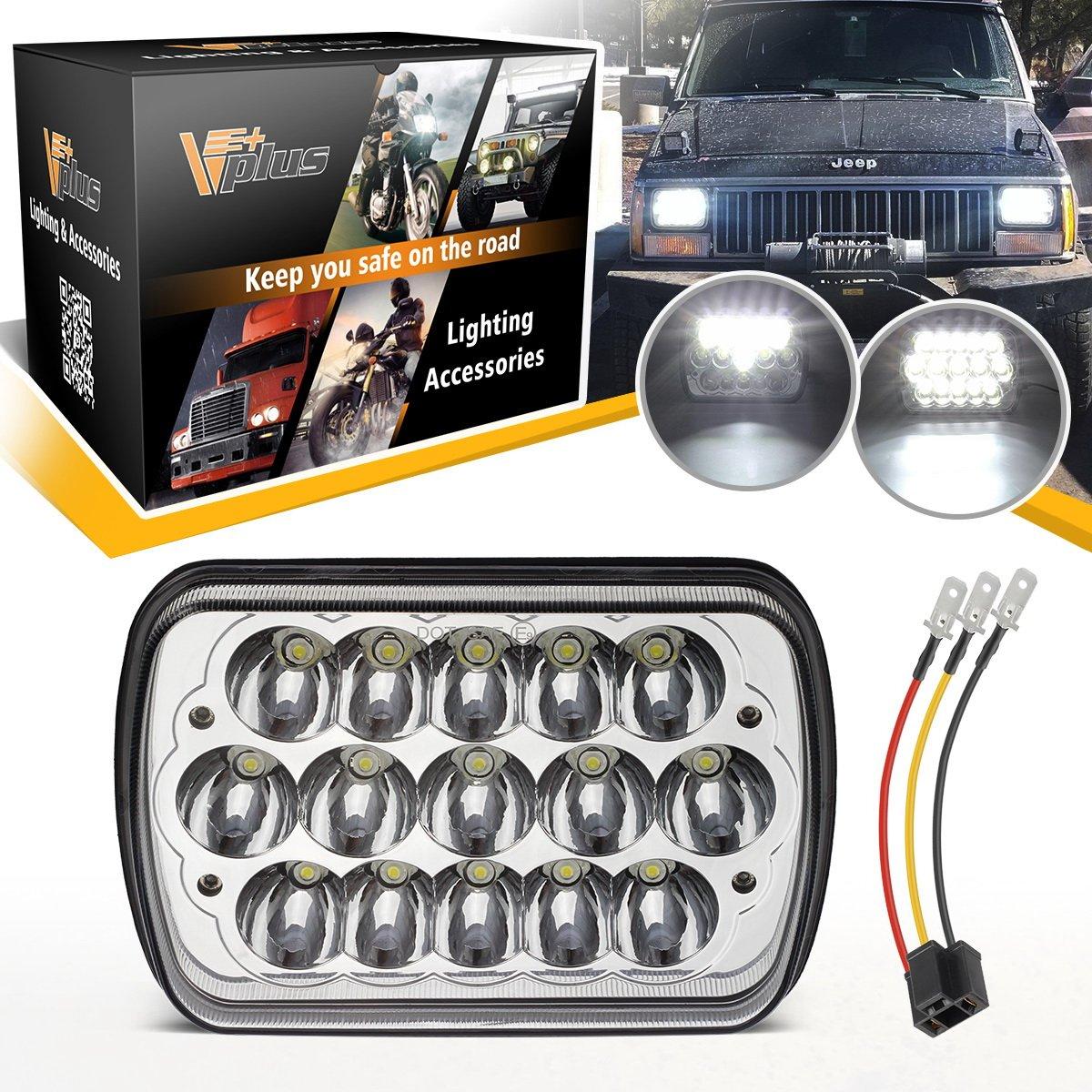 Led For Headlights >> Amazon Com Pack Of 1 Vplus Rectangular 5x7 7x6 Led Headlights