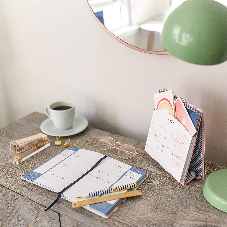 Azul marino con bolsillos y soporte incorporado Calendario de escritorio Busy B