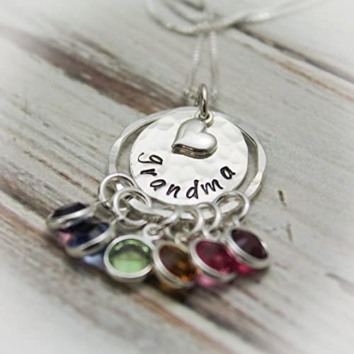 amazon com grandma birthstone necklace grandmother necklace