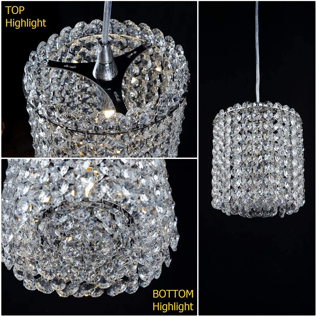 Luenfat Mini Crystal Chandelier Ceiling Lights Fixtures for Kitchen Island, Crystal Pendant Light,6 inch Cylindrical 1 Light Mirror Stainless Steel Chrome,with Clear K9 Crystal Diffuser at Bottom