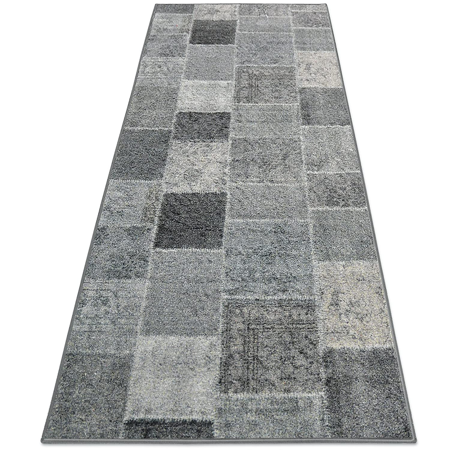 casa pura® Patchwork Rug Runner for Hallway, Anthracite 80x100cm | Non-Slip | Vintage Style Pattern Ideal for Kitchen, Bedroom Floor etc