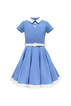BlackButterfly Kids Lucy Vintage Clarity 50s Girls Dress (Blue, ...
