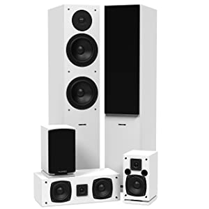 Fluance SXHTBWH High Definition Surround Sound Home Theater 5.0 Channel Speaker System Including Floorstanding Towers, Center and Rear Speakers (White)