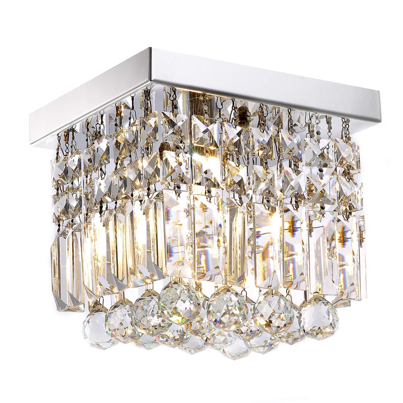 "Moooni Hallway Crystal Chandelier 1 - Light W8"" Mini Modern Square Flush Mount Ceiling Light Fixture for Closet Foyer"