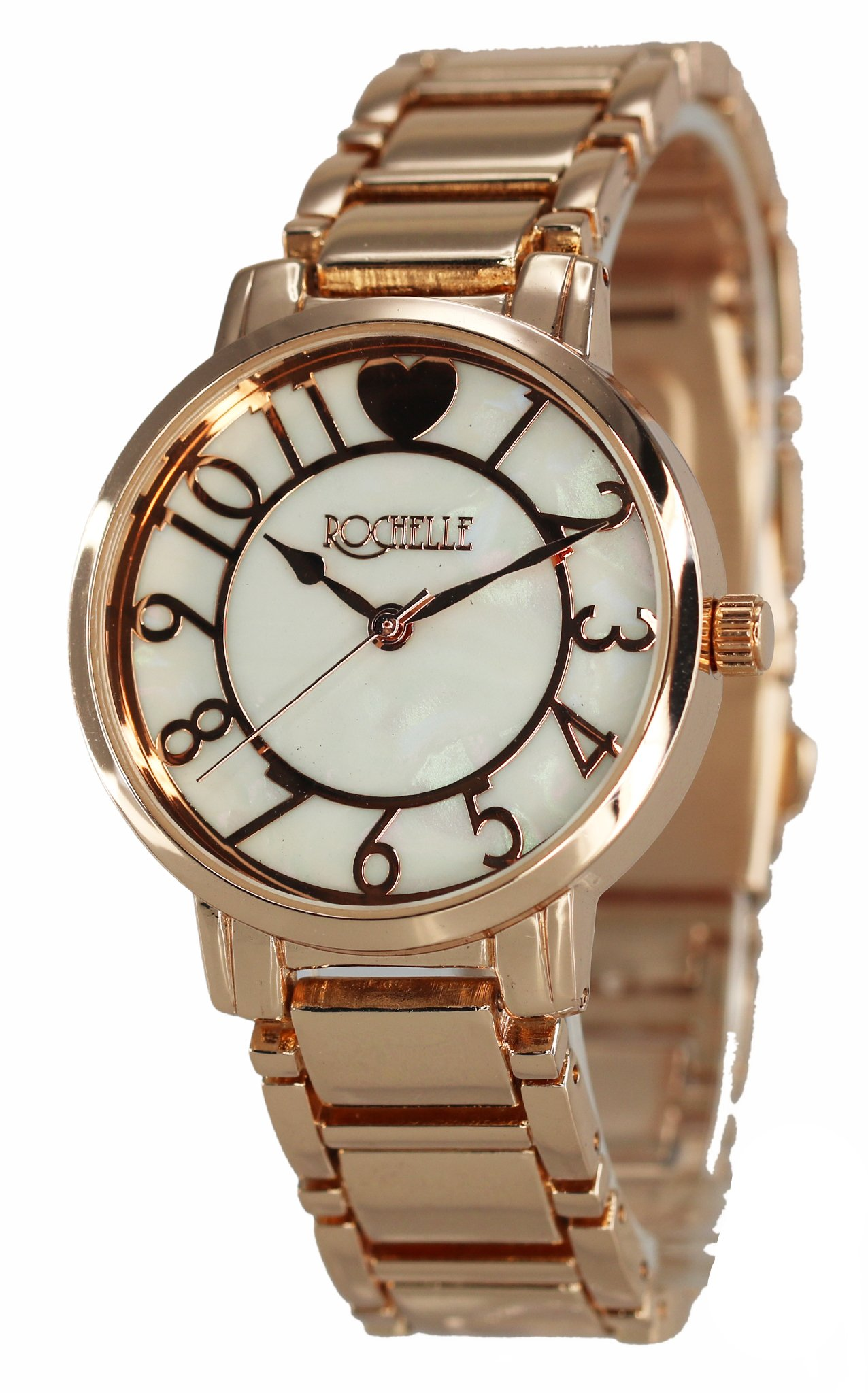 Women's Metal Dress Watch with Mother of Pearl Dial and numbers & Swanson Zipper Travel Gym Case