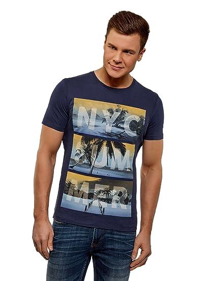 oodji Ultra Hombre Camiseta con Estampado de Playa, Azul, ES 44 / XS