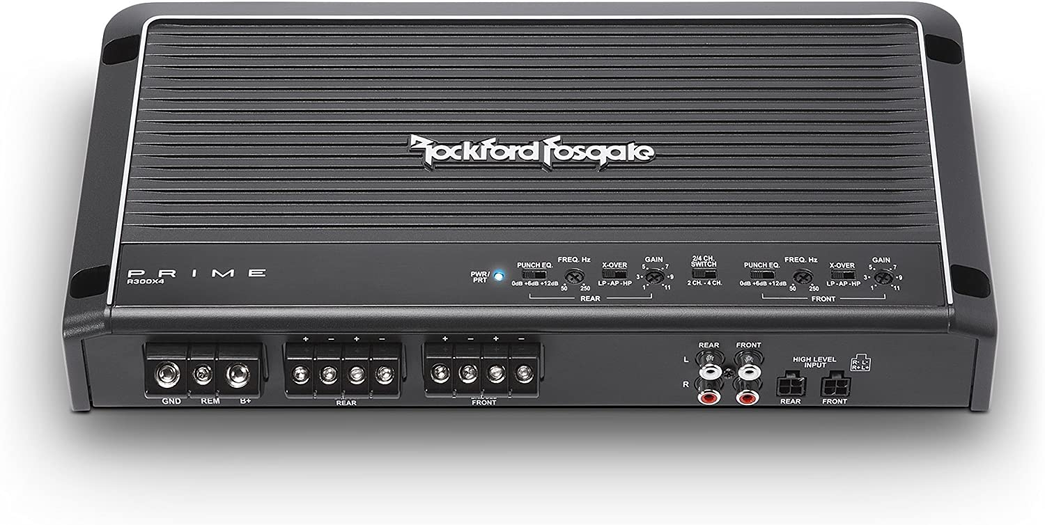 Rockford Fosgate R300X4 300W 4-Channel Class AB Prime Series Full Range Amplifier with 2.5 Farad Capacitor /& 4 Channel Amp Kit