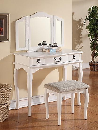 Amazon Com Major Q Pxf4094 White Finish Trifold Mirror Wooden