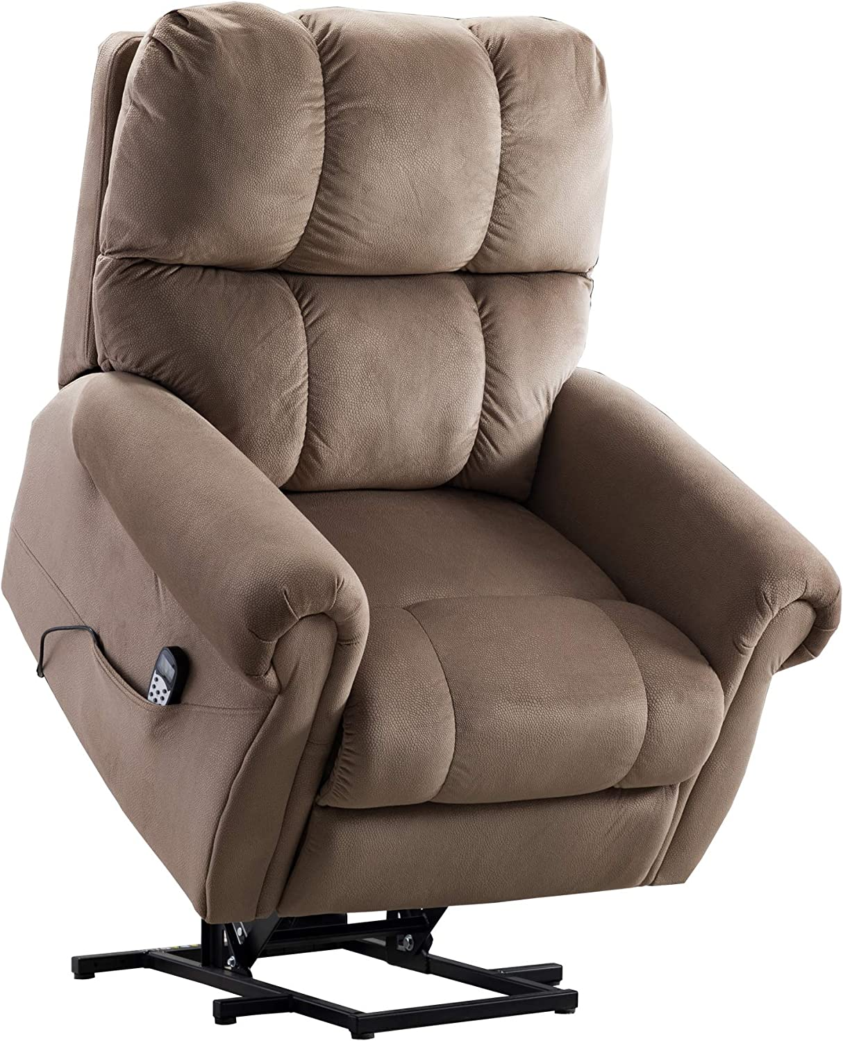 Merax Electric Power Lift Recliner Chair Lazy Boy Sofa with Massage and Heat for Elderly, Office or Living Room, Light Brown