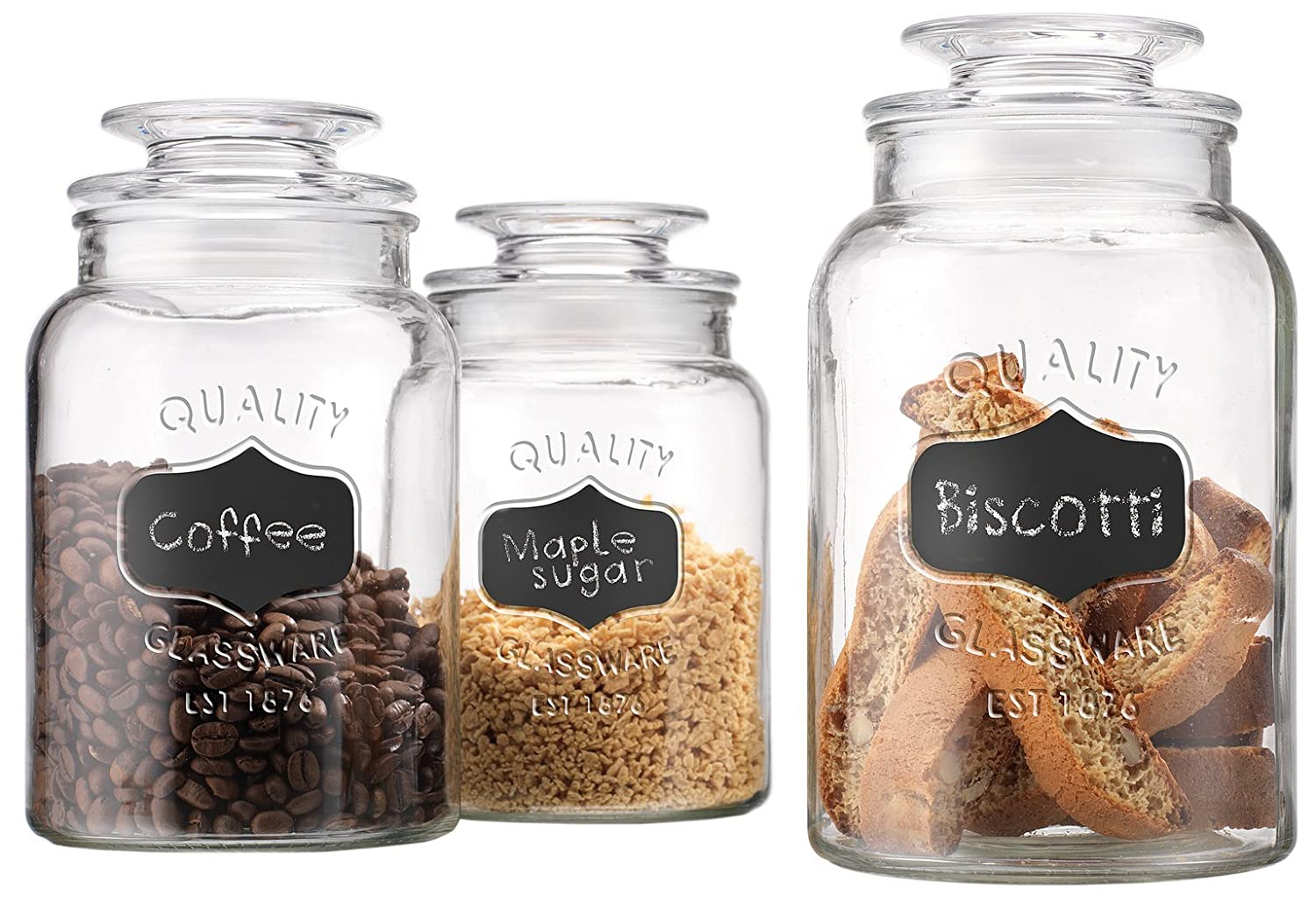 Set of 3 Round Clear Apothecary Glass Canister Jars with Chalkboard with Tight Lids for Kitchen or Bathroom ~ Food,cookie,cracker, Storage Containers
