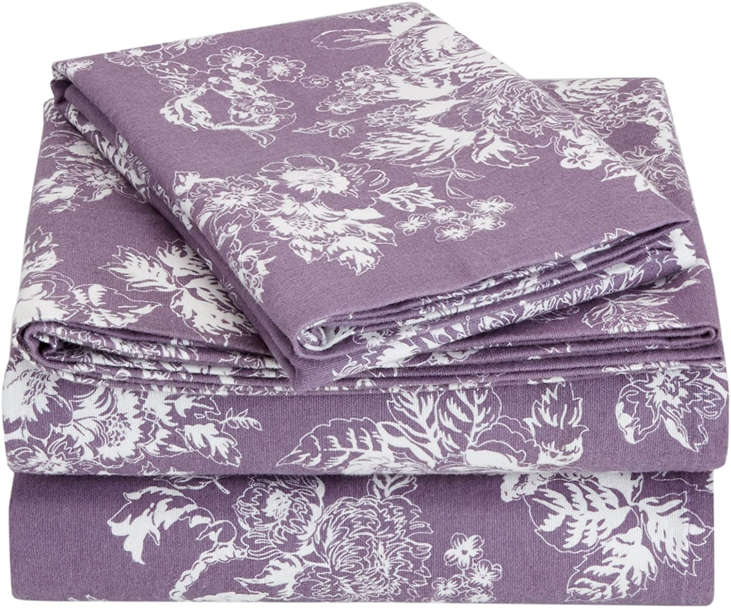 Amazon Com Pinzon Cotton Flannel Bed Sheet Set California King Floral Lavender Home Kitchen