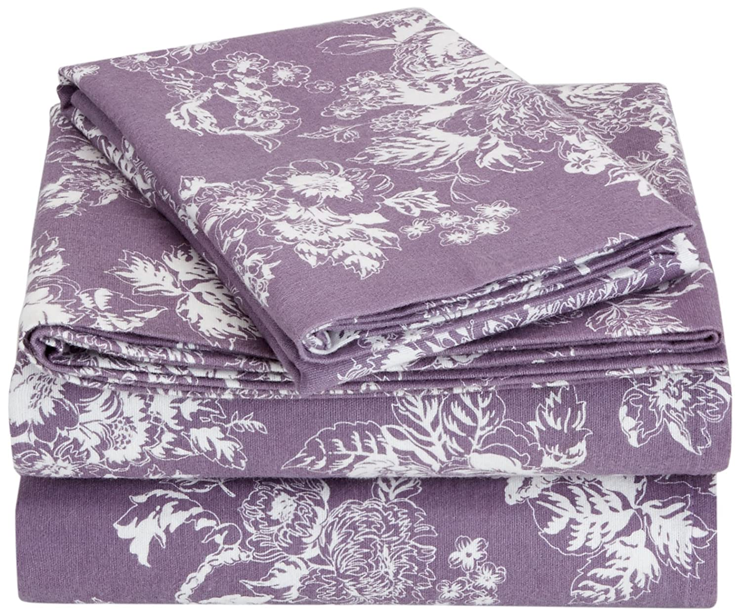Pinzon Flannel Sheet Set – King, Floral Lavender