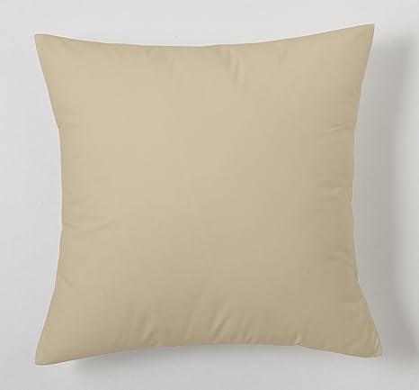 ESTELA - Funda de cojín Combi Lisos Color Camel - Medidas 40x40 cm. - 50% Algodón-50% Poliéster - 144 Hilos