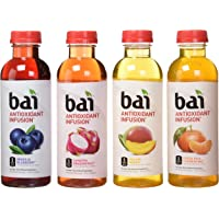 bai Flavored Water, Rainforest Variety Pack, Antioxidant Infused Drinks, 18 Fluid Ounce Bottles, 12 Count, 3 Each of Brasilia Blueberry, Costa Rica Clementine, Malawi Mango,