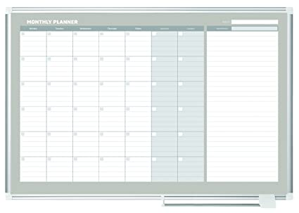 Amazon.com : MasterVision Planning Board Magnetic Dry Erase, Monthly ...