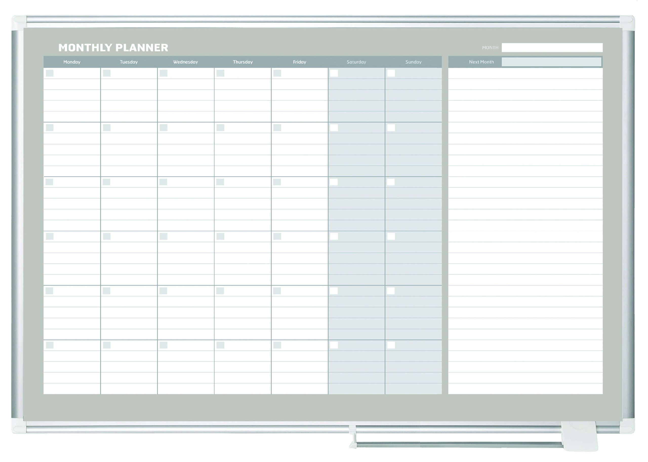MasterVision Planning Board Magnetic Dry Erase, Monthly Calendar Board with Aluminum Frame, 36'' x 48''