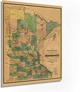 Historix Vintage 1874 Minnesota Map Poster - 24x30 Inch Township and Railroad Vintage Map of Minnesota - Wall Map of Minnesota Wall Art - Vintage Minnesota Map Poster - Minnesota Wall Decor (2 sizes)