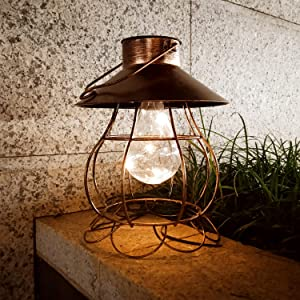 Solar Lantern Outdoor Hanging Lights Decorative Metal Retro Solar Garden Yard Patio Waterproof Led Lighting Hollow Out Indoor Table Lamps for Pathway Porch Bronze