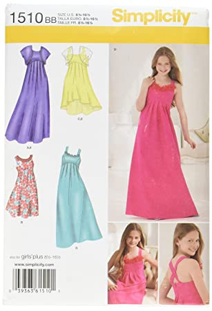 Amazon Simplicity 1510 Girls Plus Size Special Occasion Dress