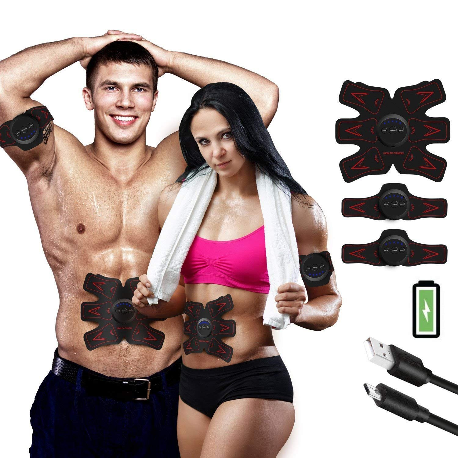 FEIERDUN ABS STIMULATOR Rechargeable Abdominal Muscle Toner Trainer - Portable Toning Belt Ultimate AB Stimulator for Men & Women (Black)