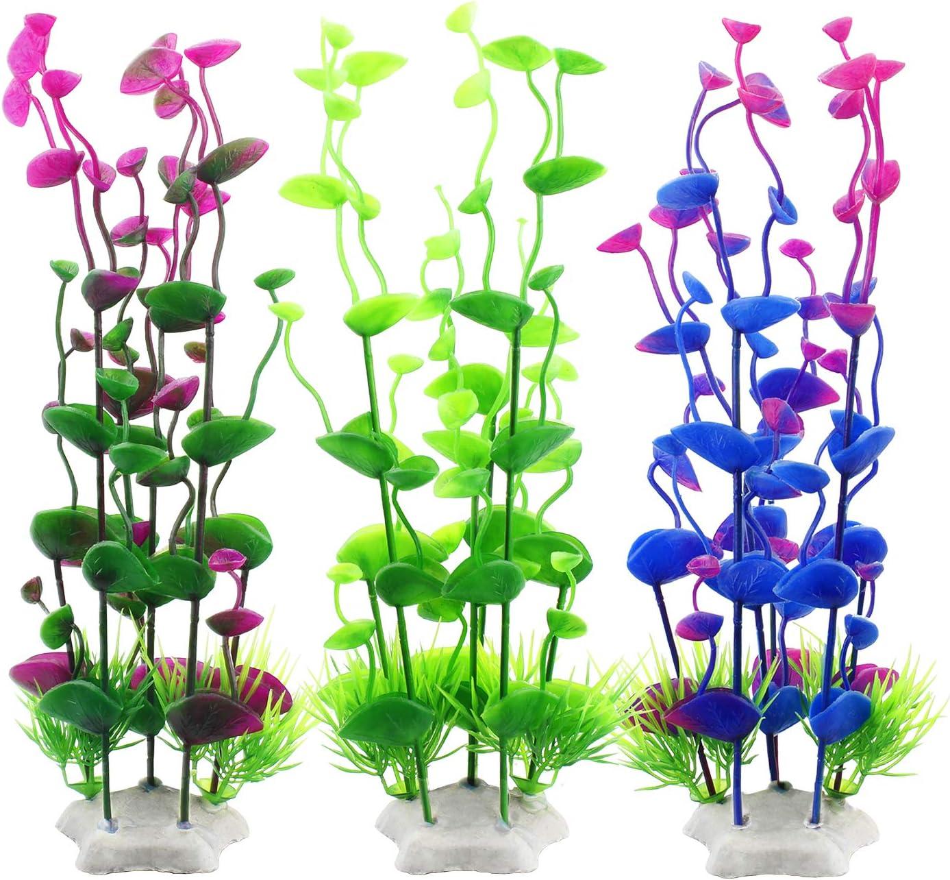 MyLifeUNIT Fish Tank Plants, Plastic Artificial Aquatic Plants for Aquarium Decorations, 9.5 Inches (Pack of 3)