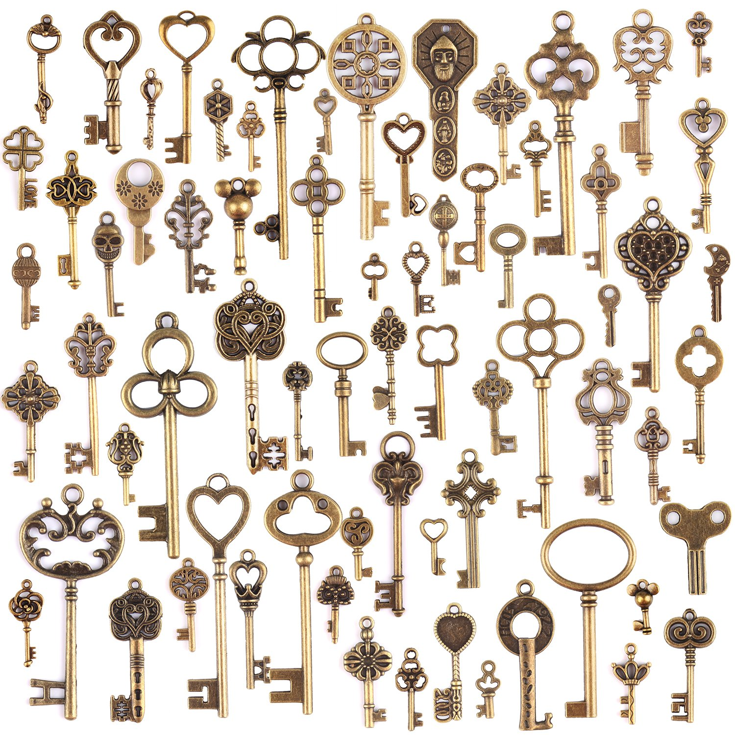 KeyZone 100 Pcs Vintage Antique Bronze Mixed Skeleton Key Charms Pendants DIY for Jewelry Making and Handmaking