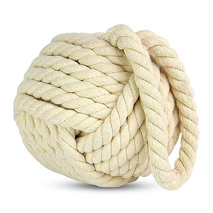 15cm Nautical Square Monkeys Fist Rope Doorstop ~ Natural Rope Door Stop