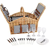 HappyPicnic 'Huntsman' Willow Picnic Hamper for 4 Persons with Double Lids and 'Built-in' Insulated Cooler, Natural…