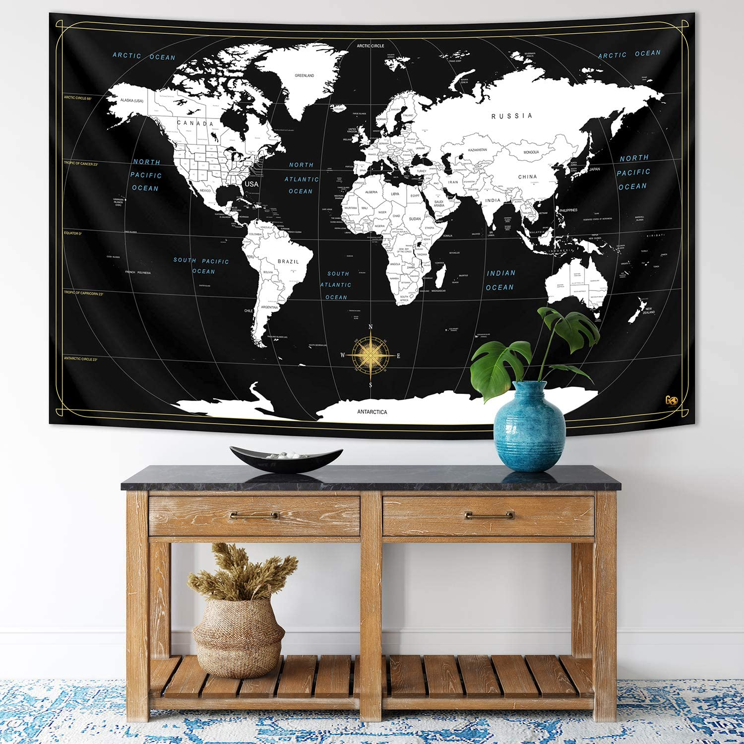 World Map Tapestry - Large Fabric Modern Wall Map Decor - Black and White Hanging Decoration Backdrop for Bedroom, Living Room, Study, Educational Art for Geography, Classroom, School, Travel Lovers