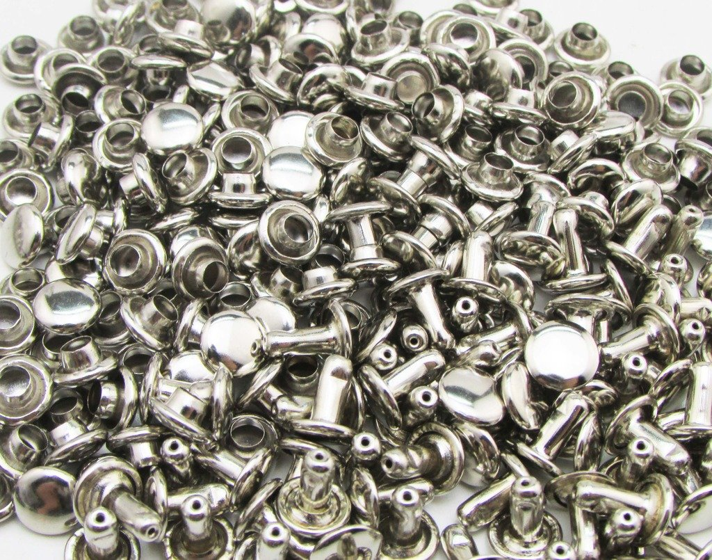Amanteao Silvery Double Cap Rivets Plane Cap 7mm and Post 8mm Pack of 150 Sets