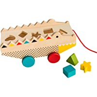 Petit Collage Rock & Roll Alligator Wooden Shape Sorter and Pull Toy