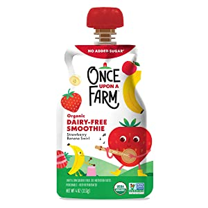 Once Upon A Farm, Organic Strawberry Banana Swirl Smoothie, 4 Ounce