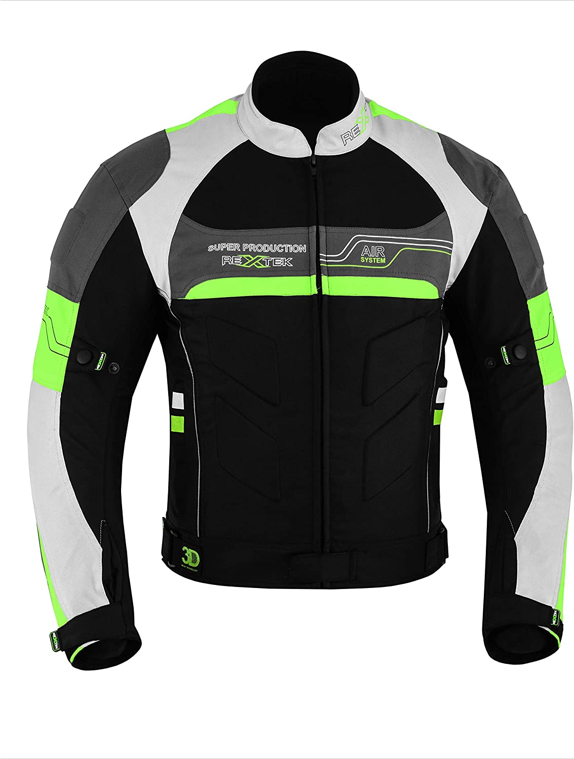 Fluroscent Green, M 100/% Best Fitting for Motorbike Riders Motorbike Motorcycle Jackets for Mens Sports Accessories All Weather New Look Jacket in Cordura Fabric with CE Removable Armour