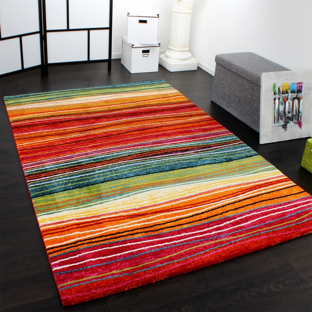 Striped rugs amazon rug modern designer carpet colourful striped red green orange multicoloured size120x170 cm baanklon Images