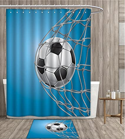 Soccer Shower Curtain Sets Bathroom Goal Football In Net Entertainment Playing For Winning Active Lifestyle Satin