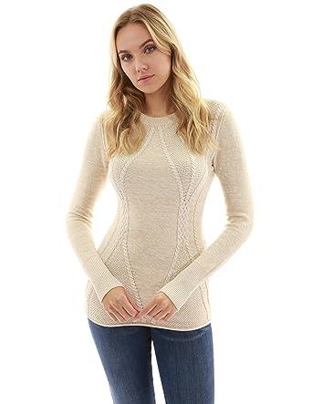 08c090d413 PattyBoutik Women Cotton Blend Crewneck Cable Knit Sweater (Heather Beige  X-Small)