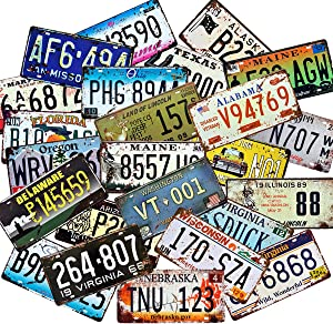 1st warehouse Retro Vintage Assorted US States Number Tags, Embossed License Plates, Lot of 10/15/20/25/30 pcs, Man Cave Garage Bar Home Wall Decor, 6x12 Inch (30)