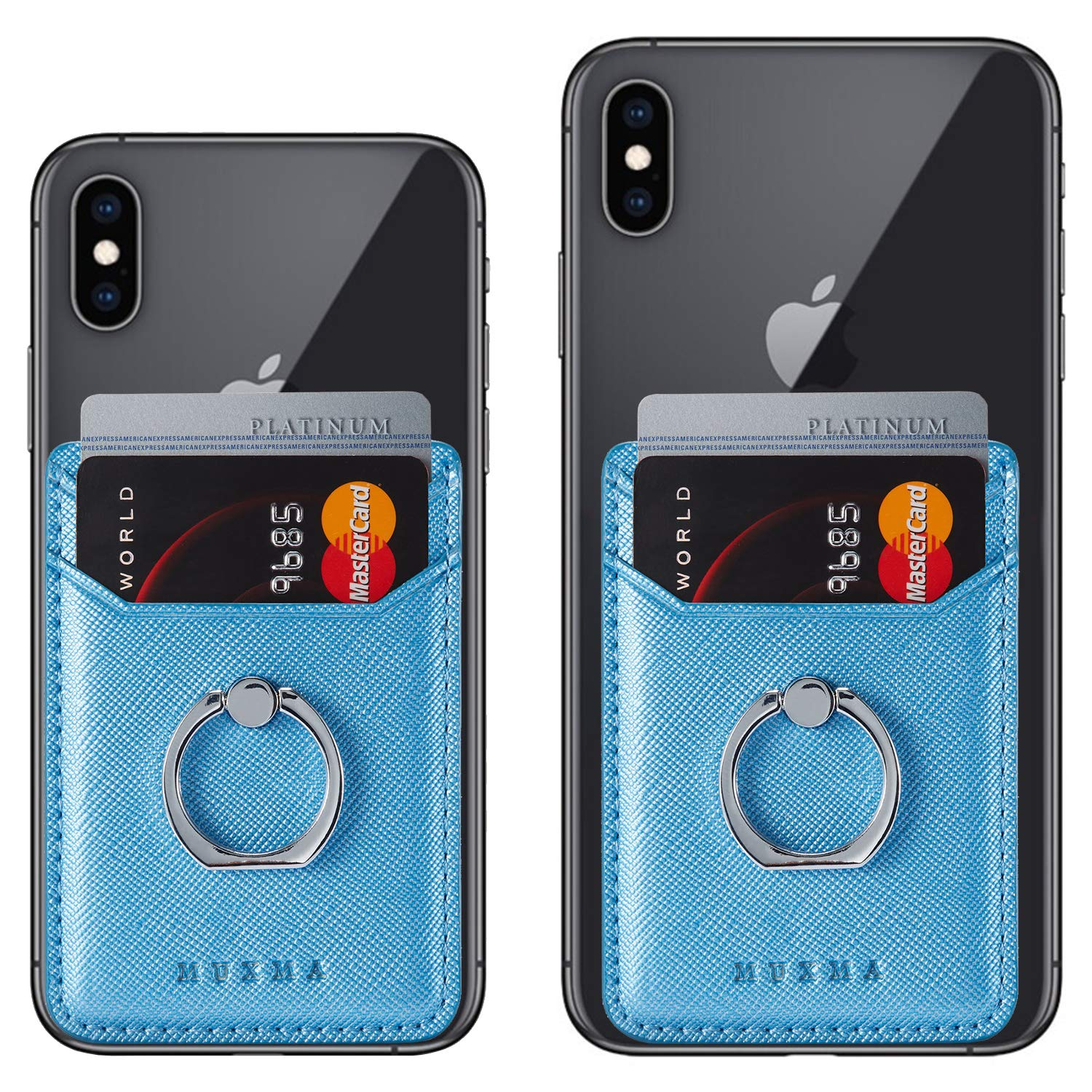 Card Holder for Back of Phone Ring Stand Cell Phone Stick on Wallet Credit Finger for iPhone//Samsung//Smartphone Blue