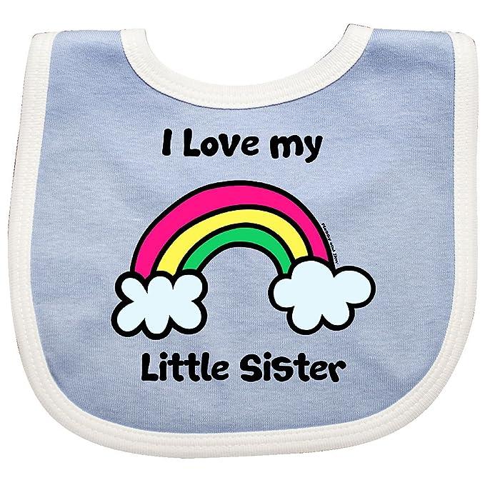 Amazoncom Inktastic I Love My Little Sister Baby Bib Bluewhite