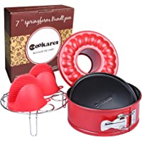 Nonstick 2-in-1 springform 7-inch Cheesecake Quick-Release pan Set: Two Interchangeable Bottoms Egg Rack for Instant Pot Accessories & 2 Mini Silicone Mitts - fits 5 6 8 Qt by CooKares